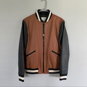 HP ✨ Coach Leather Jacket Brown & Black Small Mens